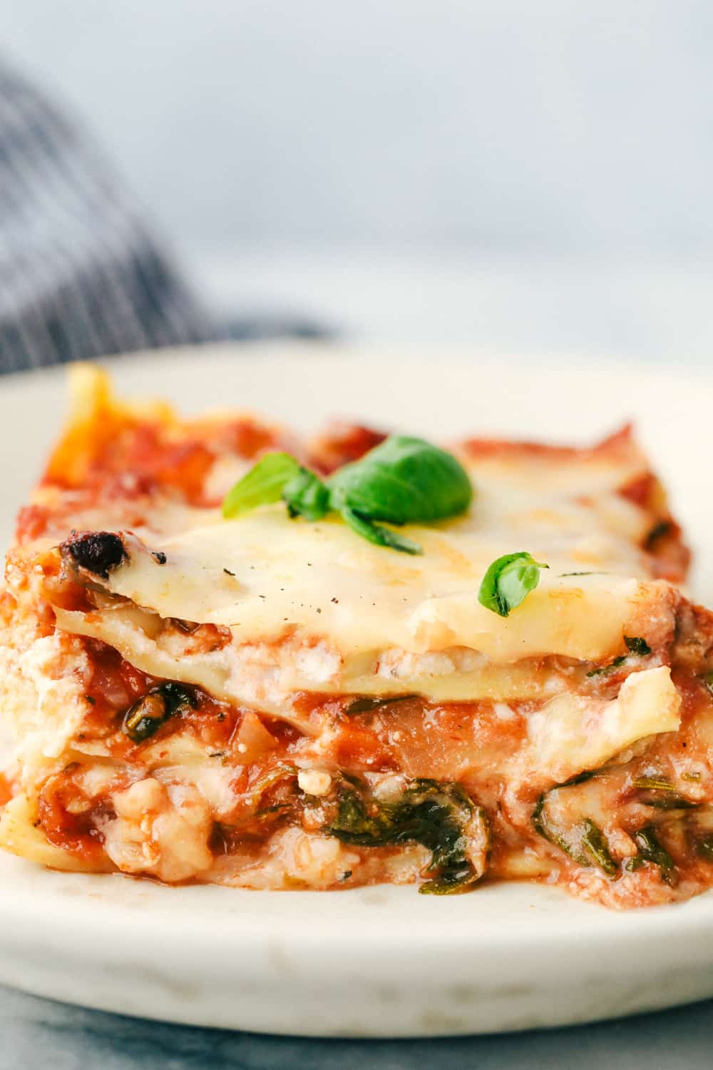 Plated vegetable lasagna with cheese, noodles and sauce.