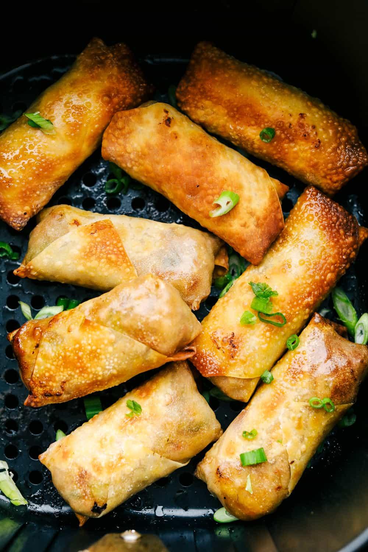 Crispy and golden brown air fryer egg rolls.
