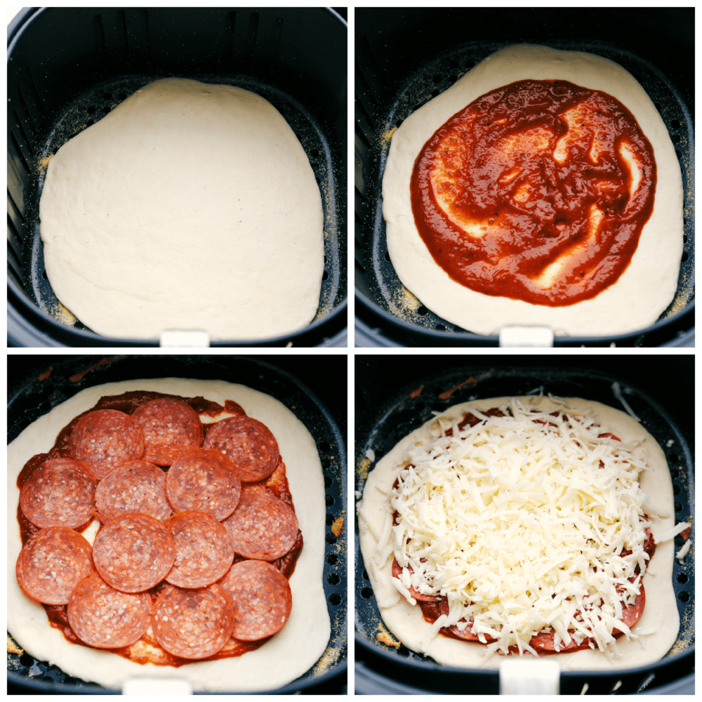 Making the pizza in an air fryer step by step.