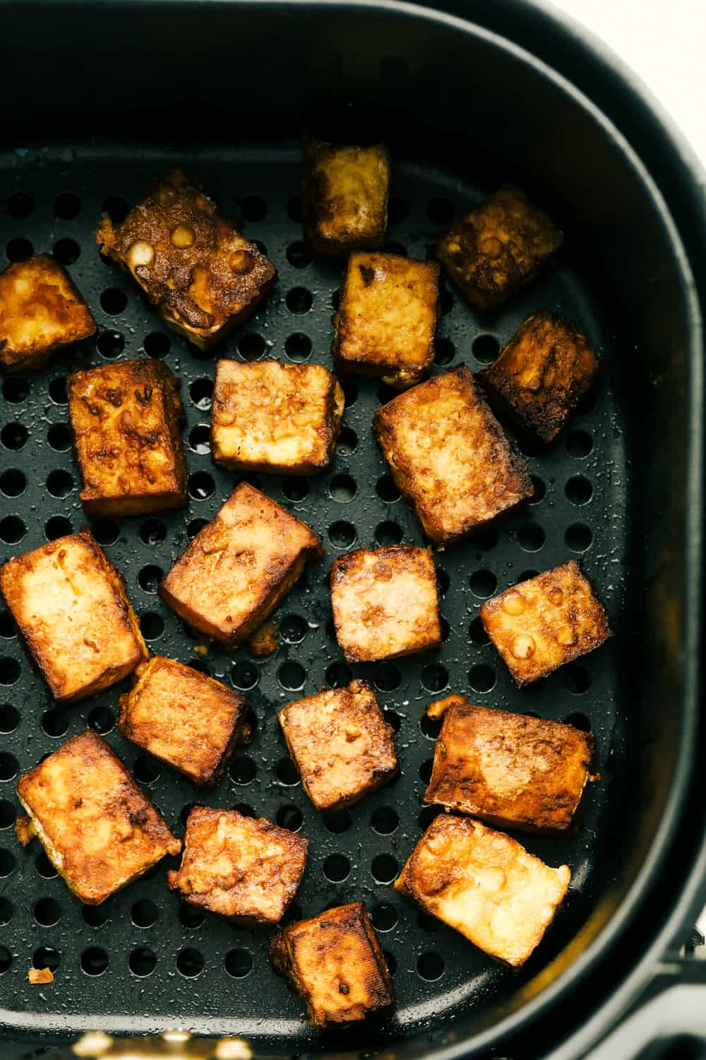 Tofu cooked in the air fryer.