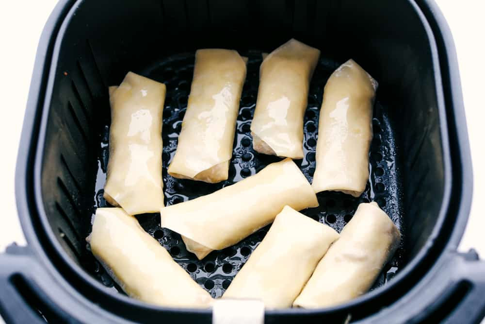 Egg rolls ready to air fry.
