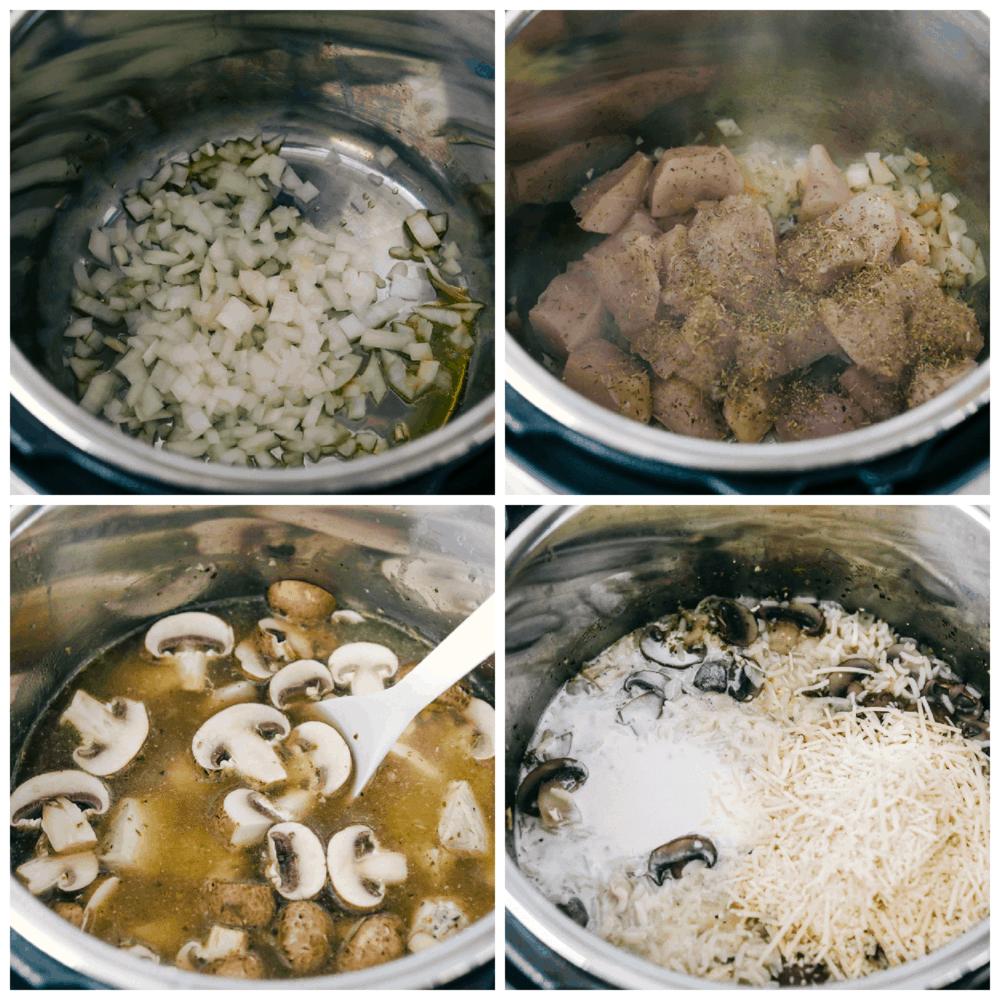 Saltear cebollas, pollo y hacer pollo y arroz.