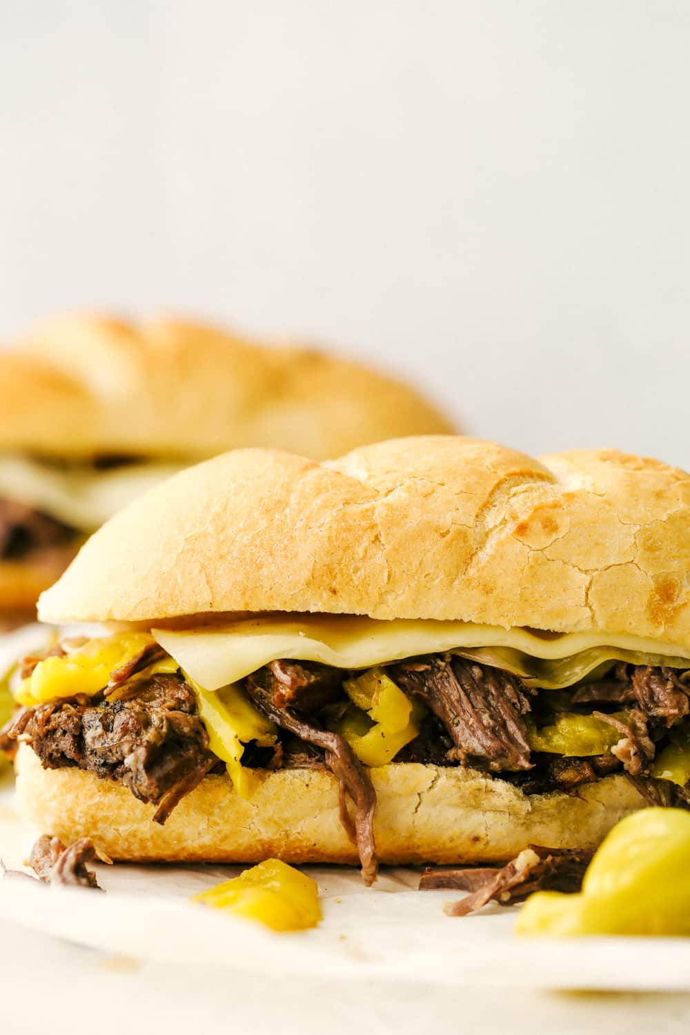Italian Beef on a hoagie with cheese.