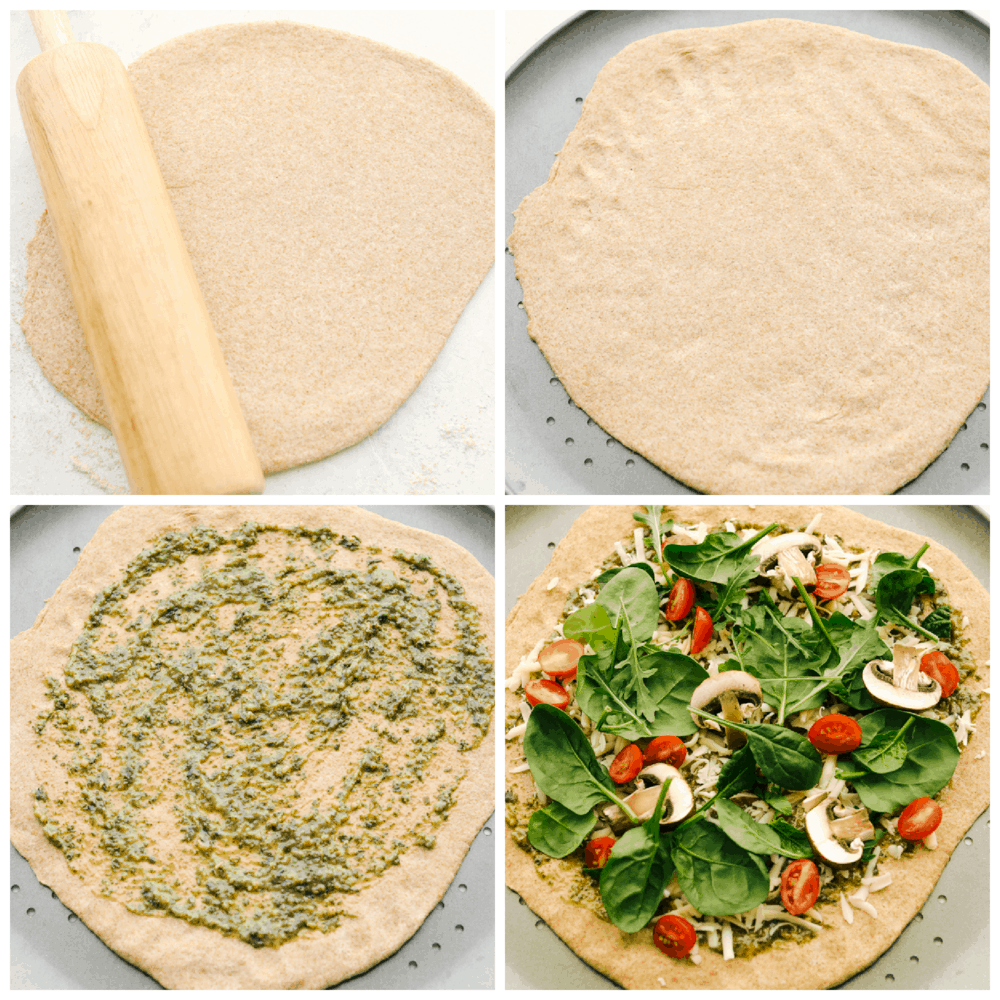Rolling out the pizza dough and putting sauce and toppings on top.