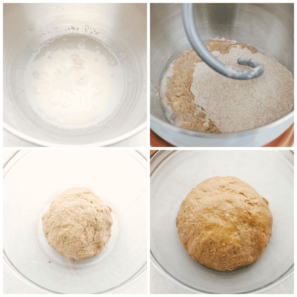 Mixing the dough for whole wheat pizza dough.