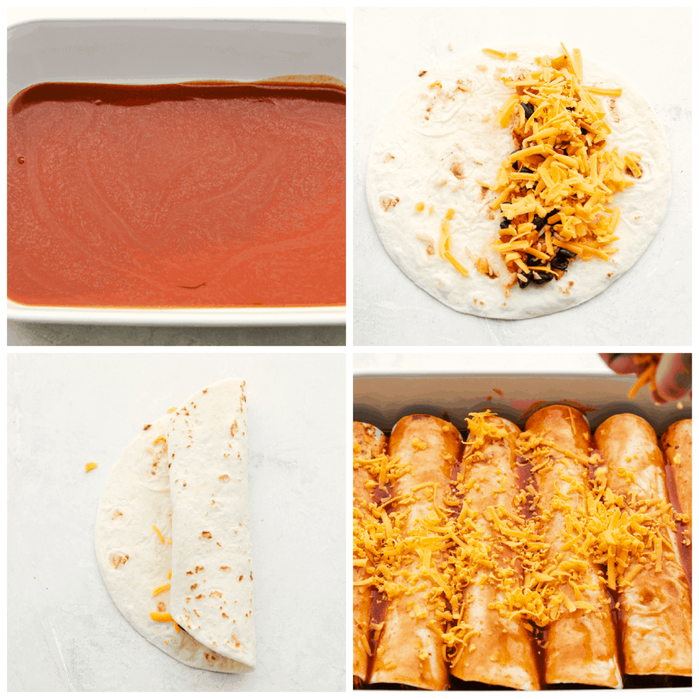 Layering homemade enchilada sauce, filling the tortillas and covering the enchiladas with cheese.