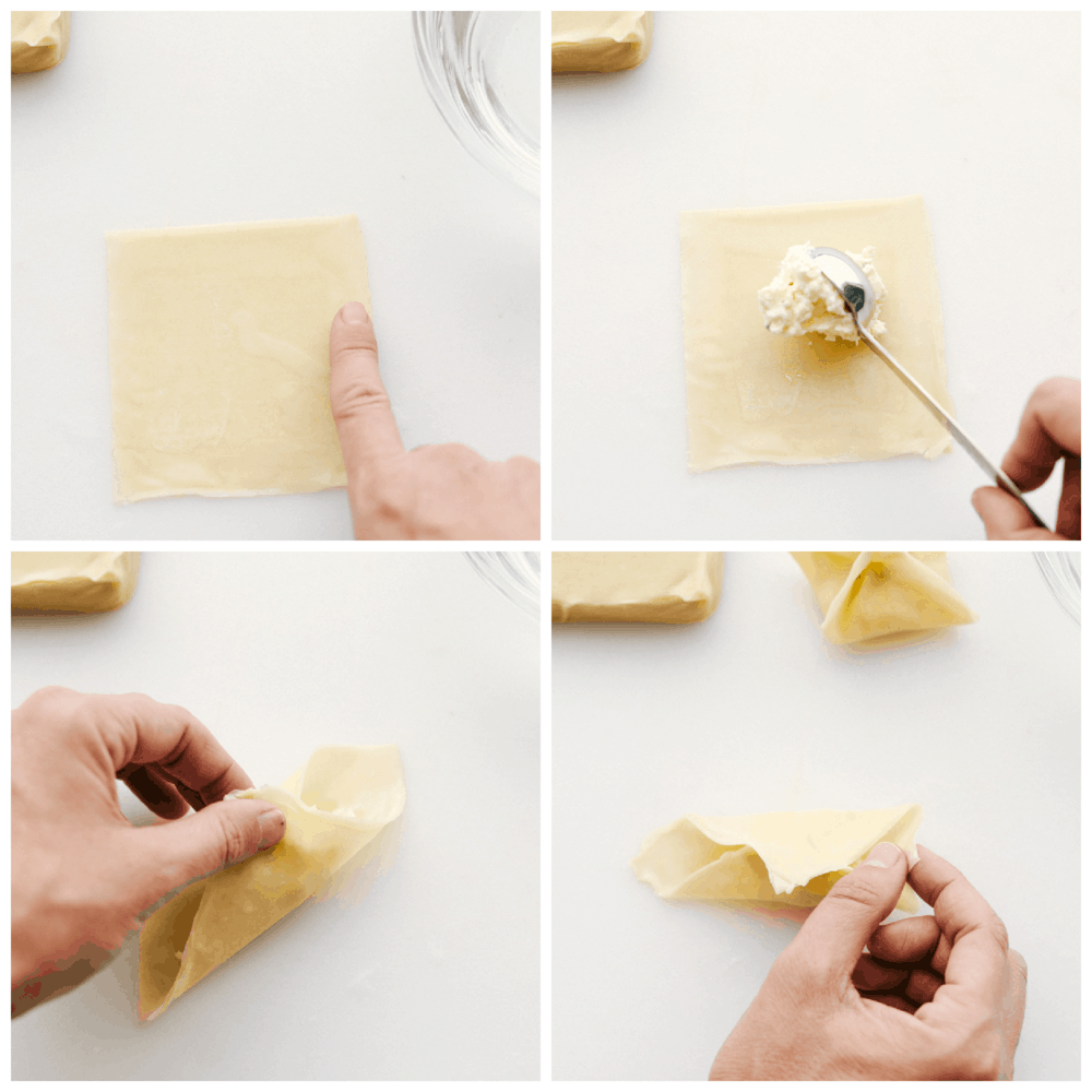 How to fill and fold wontons.