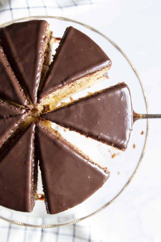 Boston Cream Cake cut into slices.