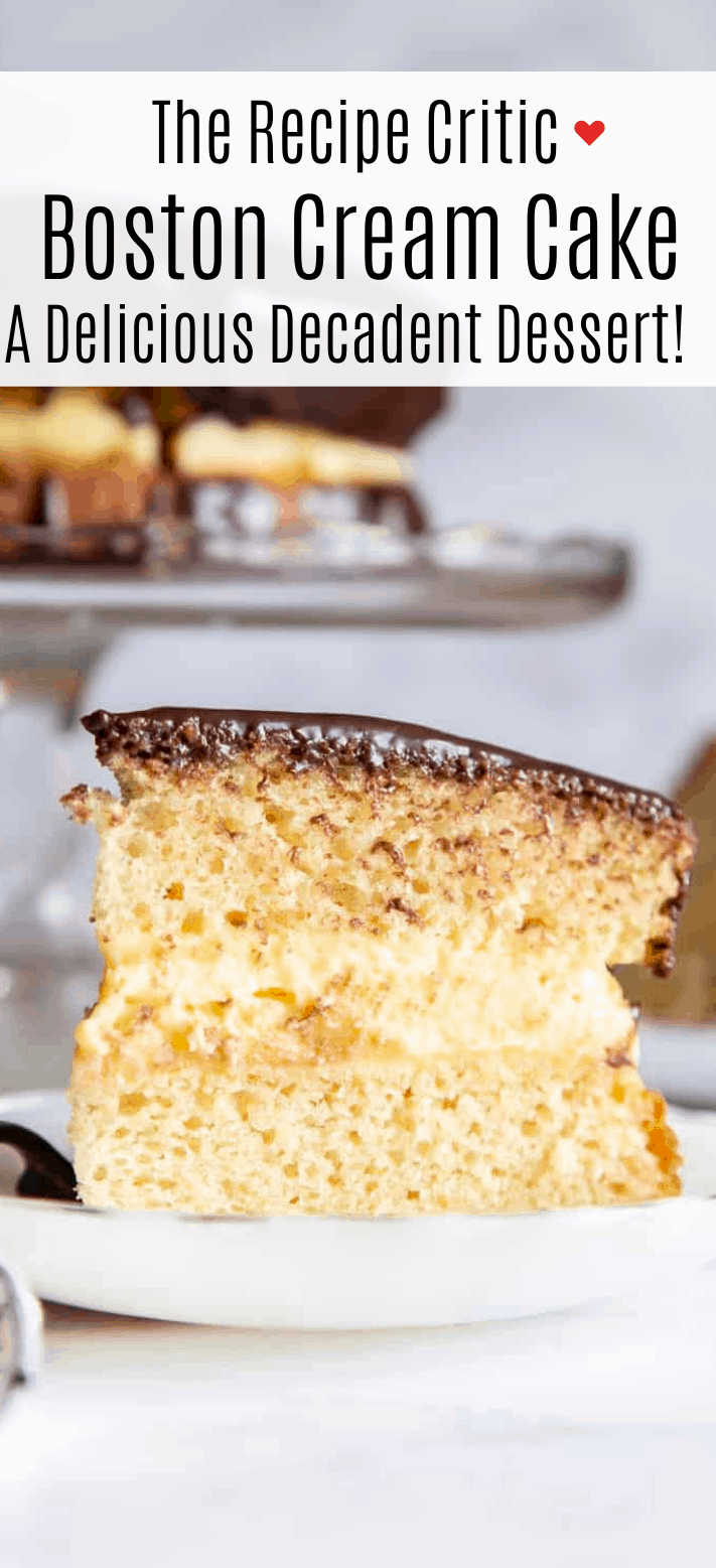 Boston Cream Cake with Chocolate Ganache | Cook & Hook