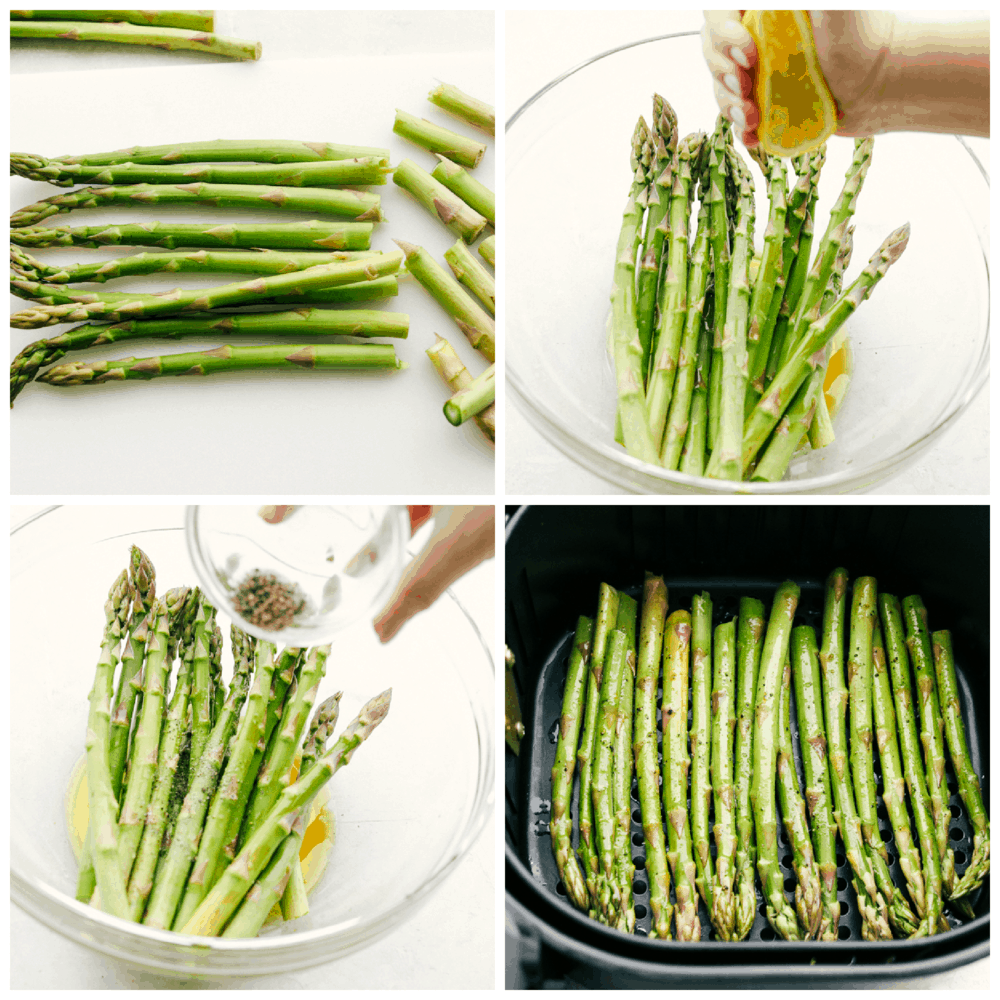 Memangkas dan menambahkan bumbu pada asparagus untuk menggoreng udara.