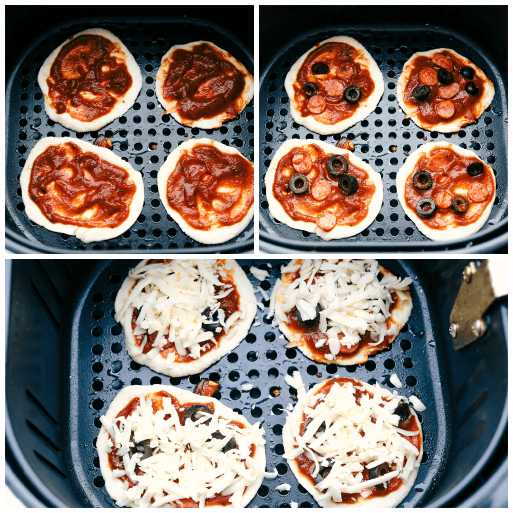 Biscuit pizzas in air fryer with sauce, then pepperoni, olives and cheese.