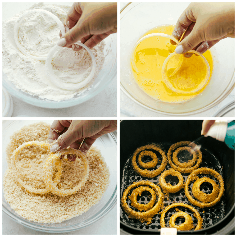 Dipping the onion rings in the flour, egg mixture and coating and then air frying.