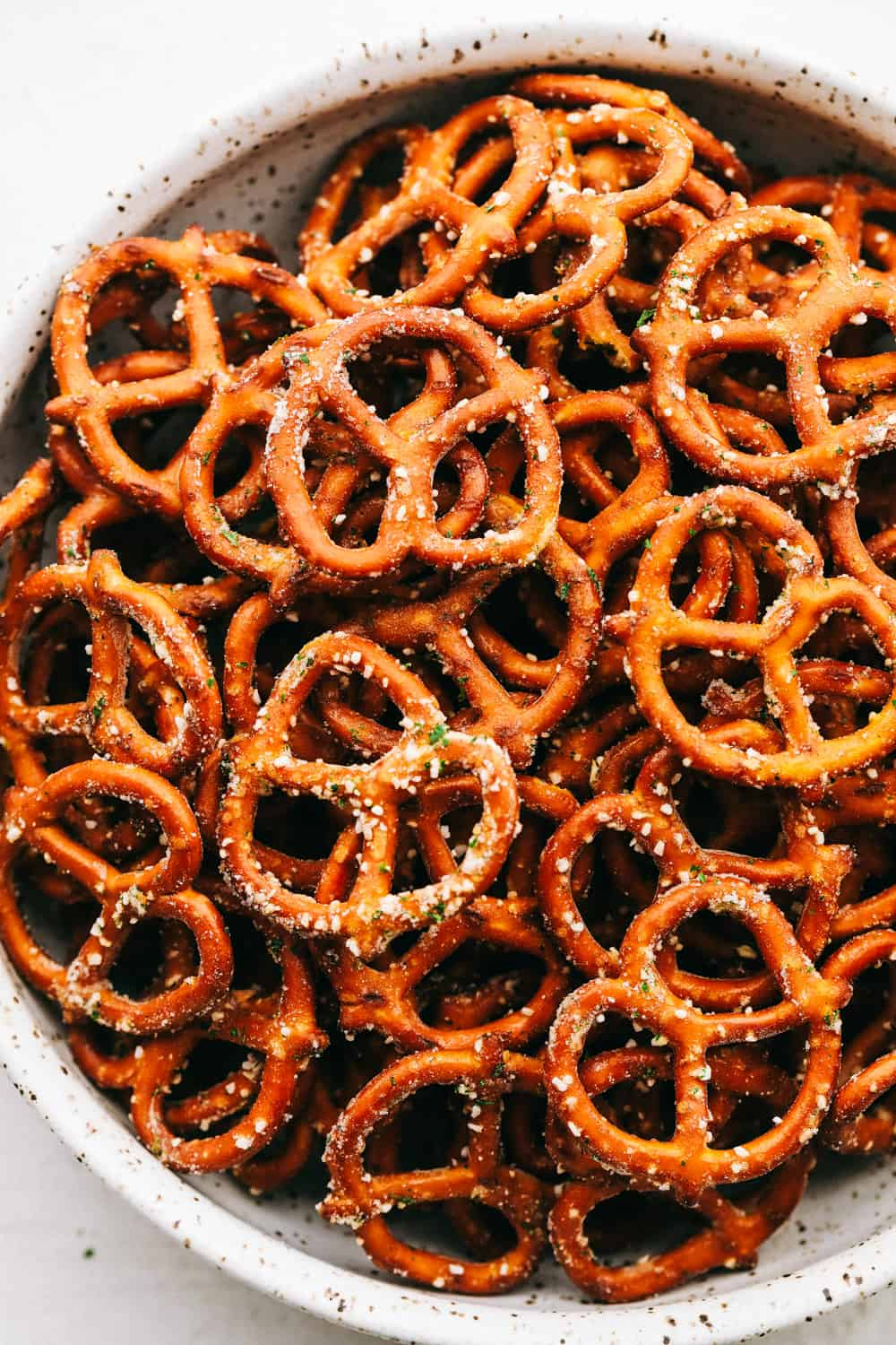 Zesty ranch pretzels in a bowl.