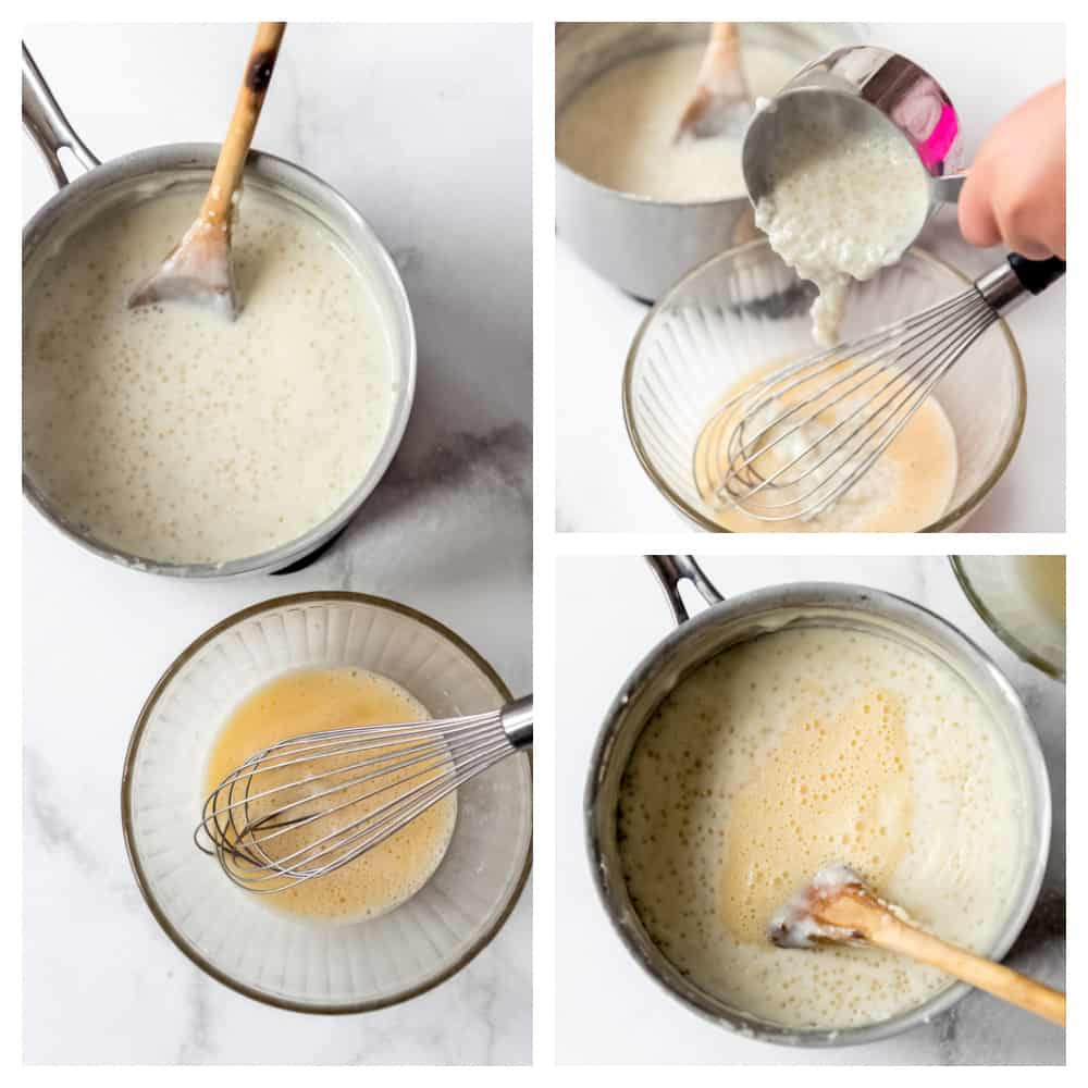 A step-by-step collage showing how to make tapioca pudding.