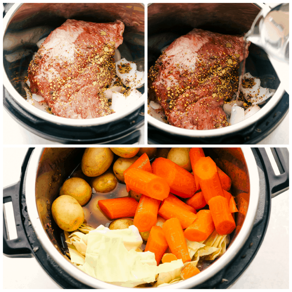 Putting the corned beef in the instant pot and adding the vegetables.