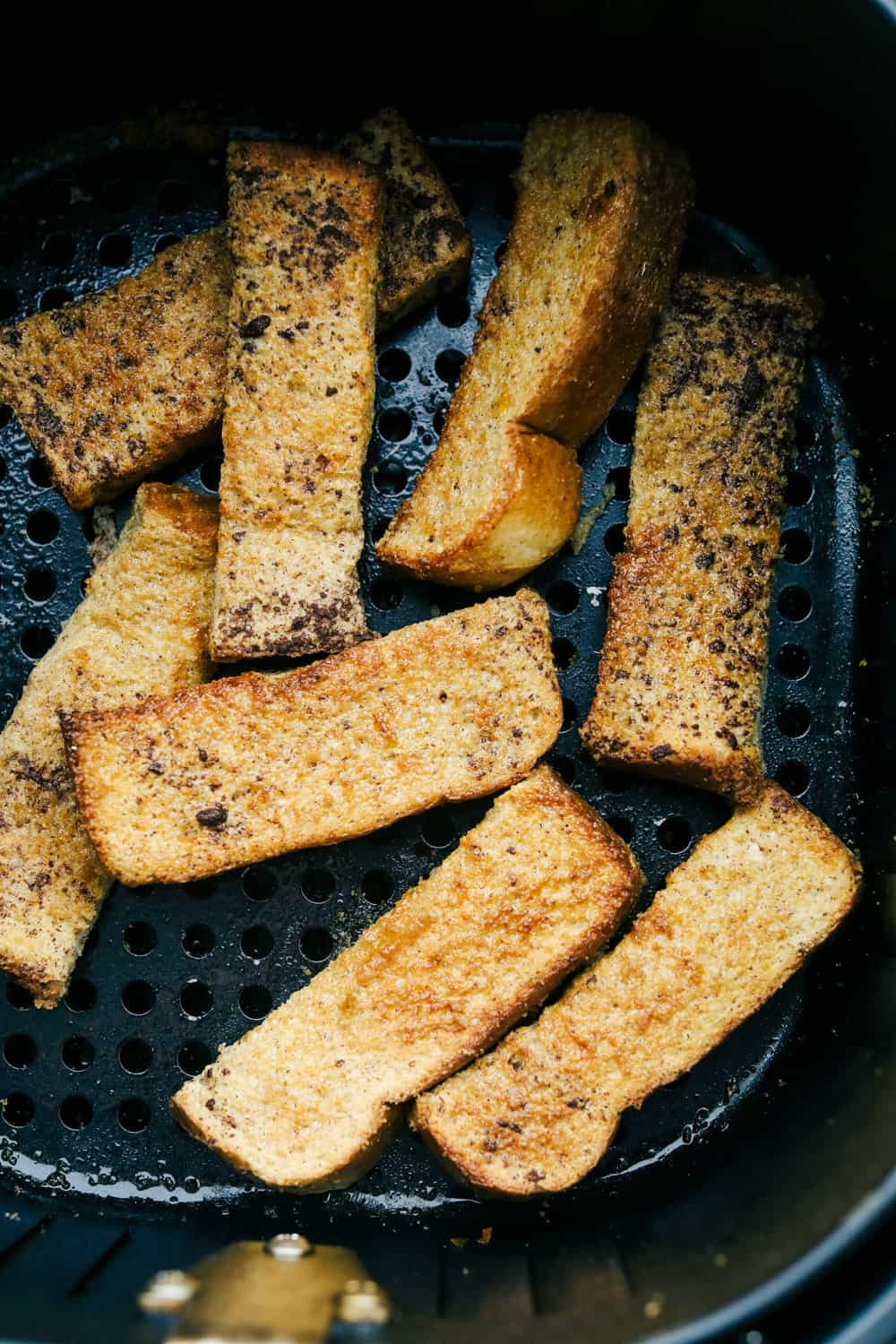 Golden brown french toast sticks.
