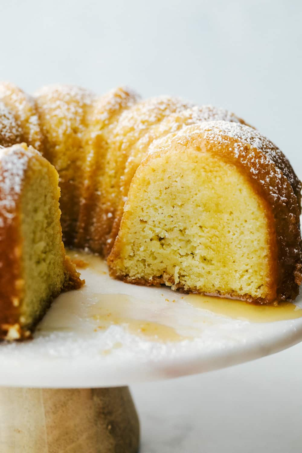 Kentucky Butter Cake with drizzle on a plate.