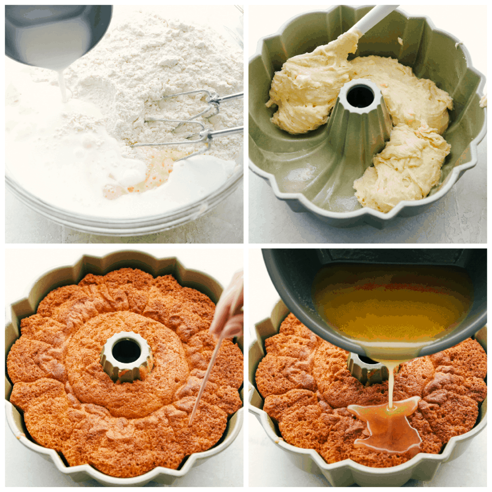 Mixing the cake, putting it in the bundt pan and doing the drizzle.