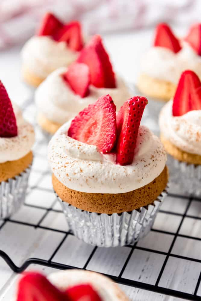 tres leches cupcakes on a wire rack