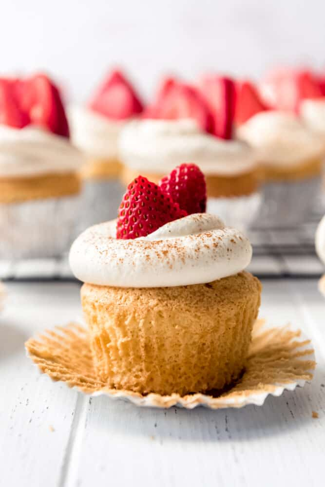 an unwrapped tres leches cupcake