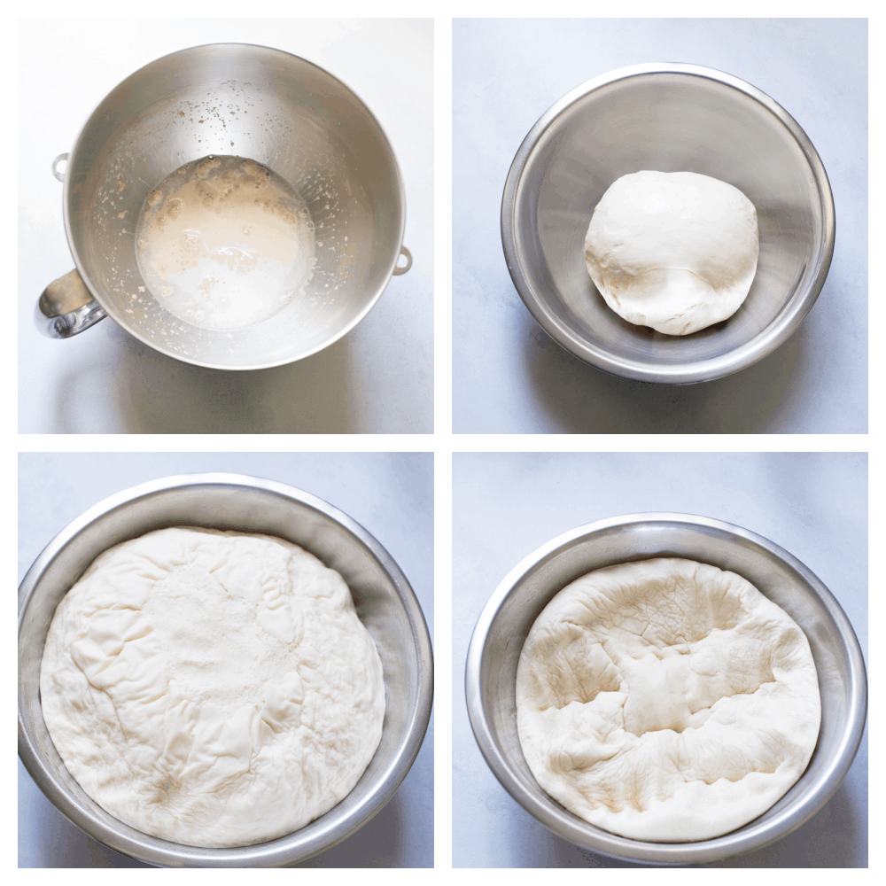 Making and proving the bread dough.