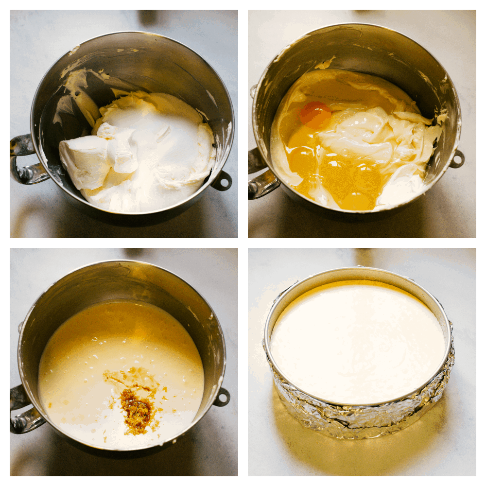The process of making cheesecake.