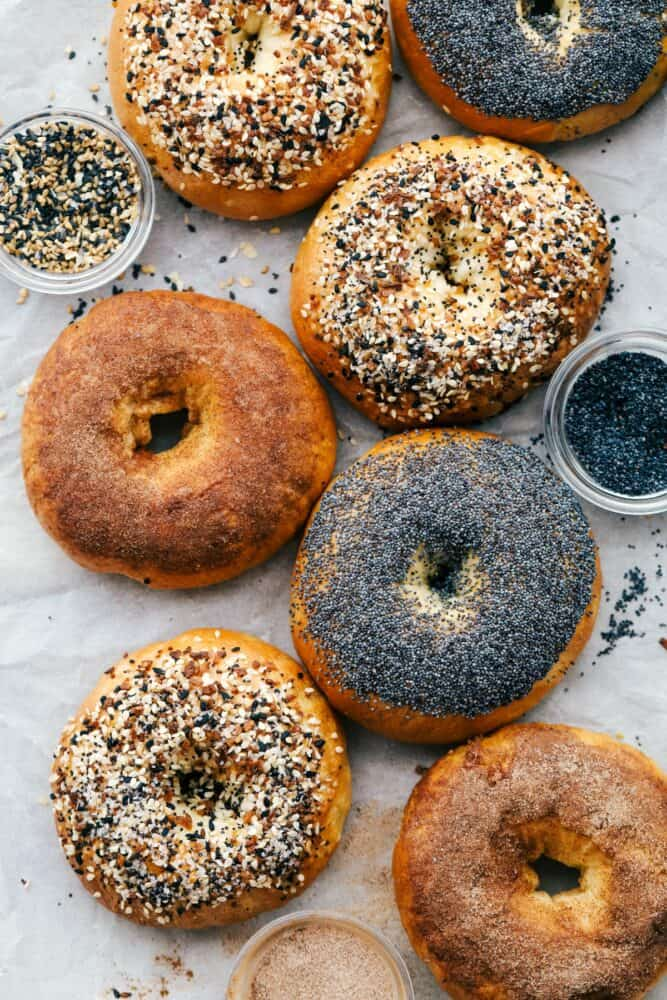 Bagels with different types of toppings on them.