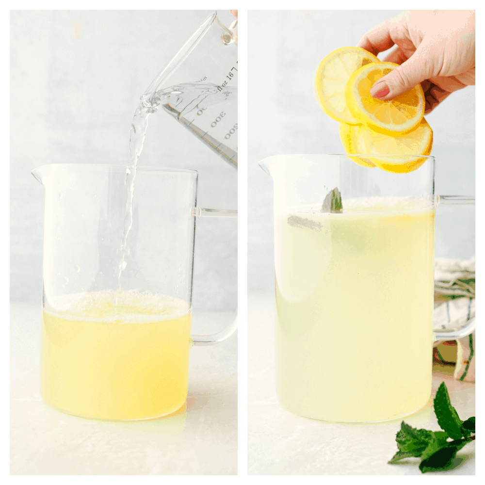 Adding water and lemons and mint for garnish.