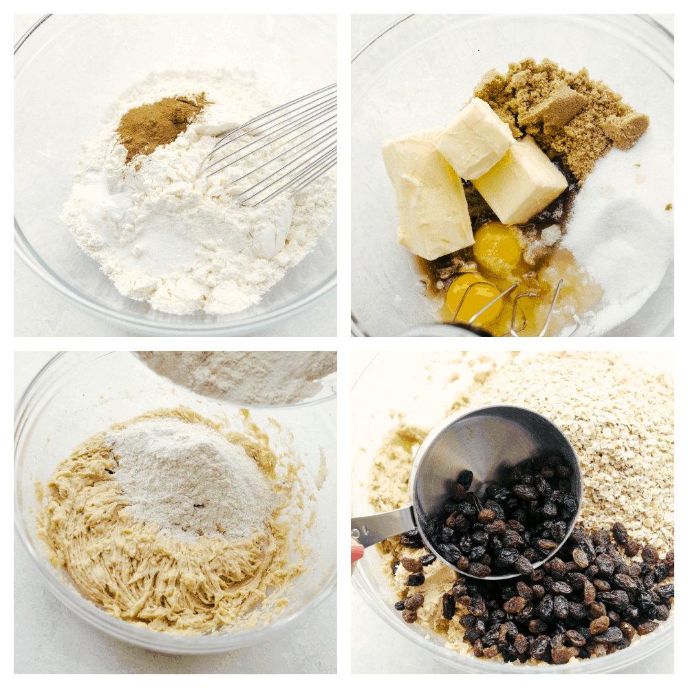 Mixing the dry ingredients, then the butter and sugars and adding it all together with the raisins.