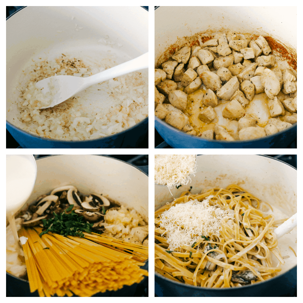The process of making chicken fettuccine alfredo.