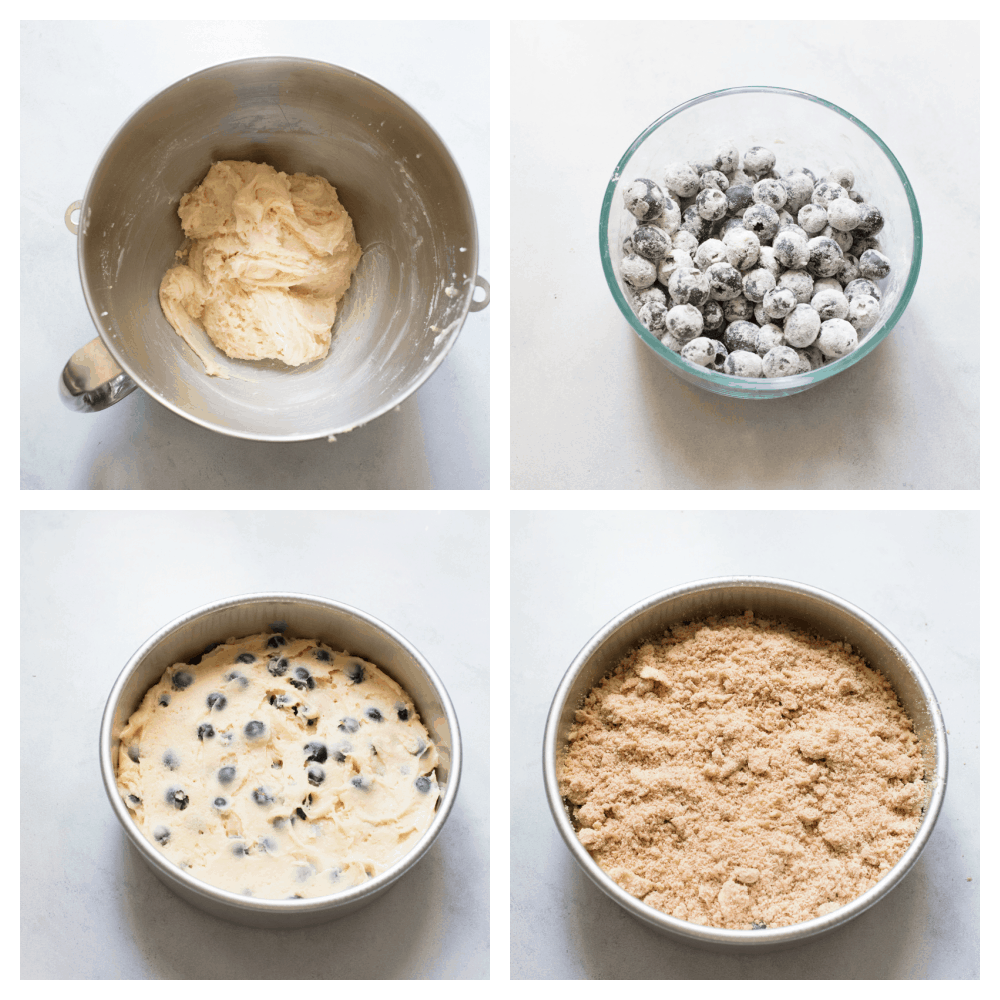 Making the batter, flouring the blueberries, the batter in a pan with crumb topping.