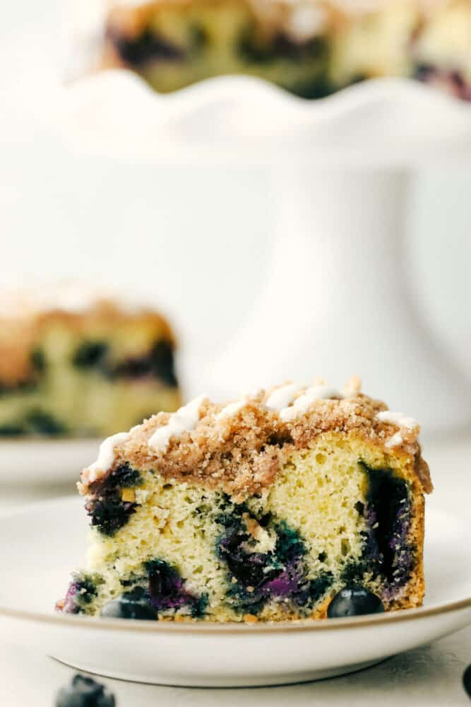 A piece of blueberry crumb cake on a plate.
