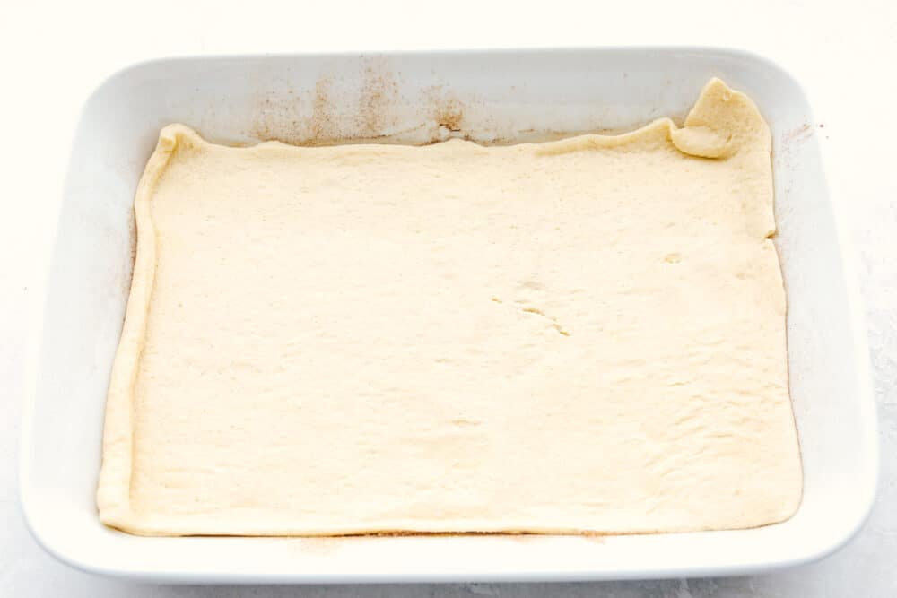 The crescent roll sheet on the bottom of the pan.