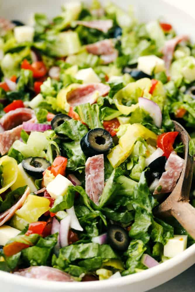 Mixed Italian chopped salad ready to serve.