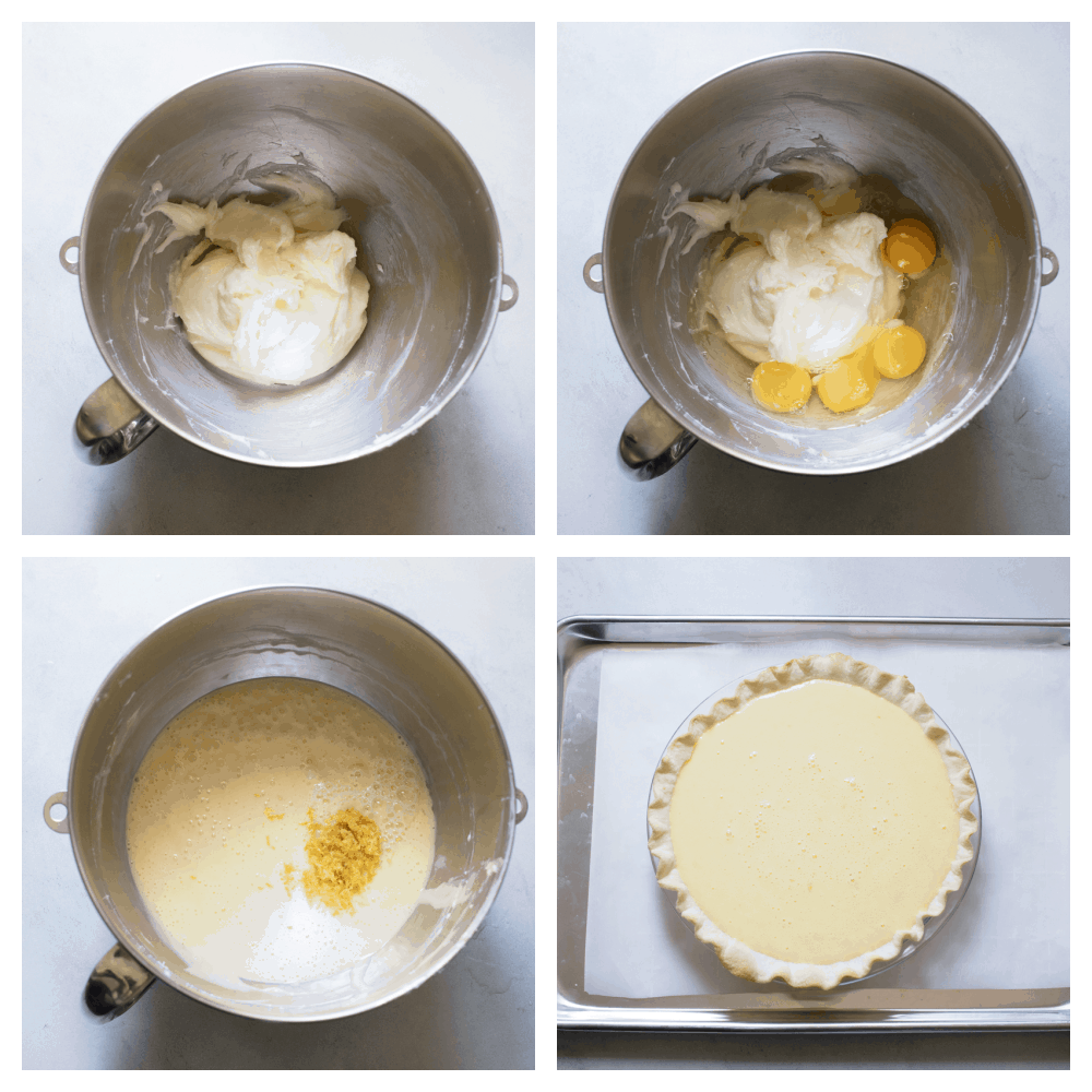 Process photos of making lemon pie in the kitchen aid.