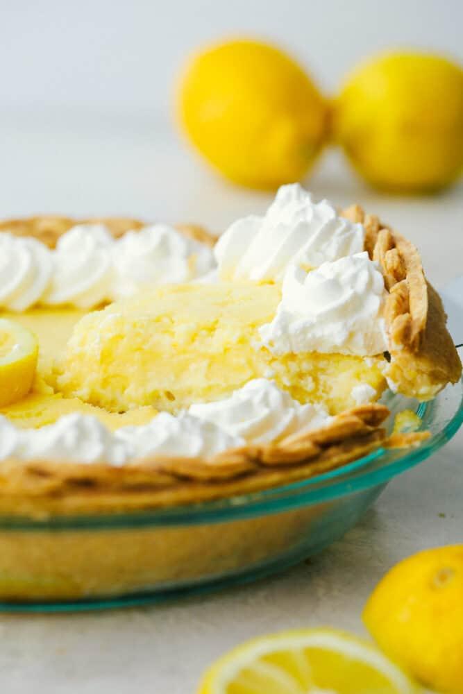 Serving up a piece of lemon pie.
