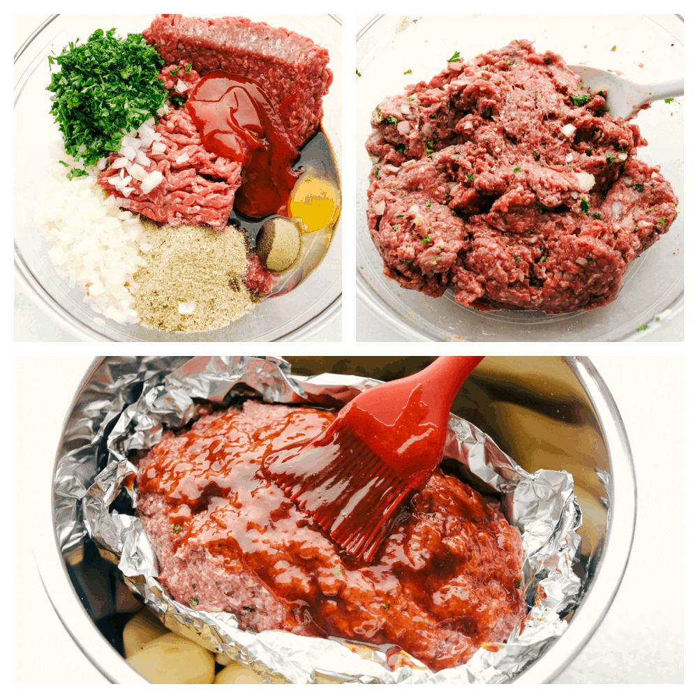 Process photos of making meatloaf.