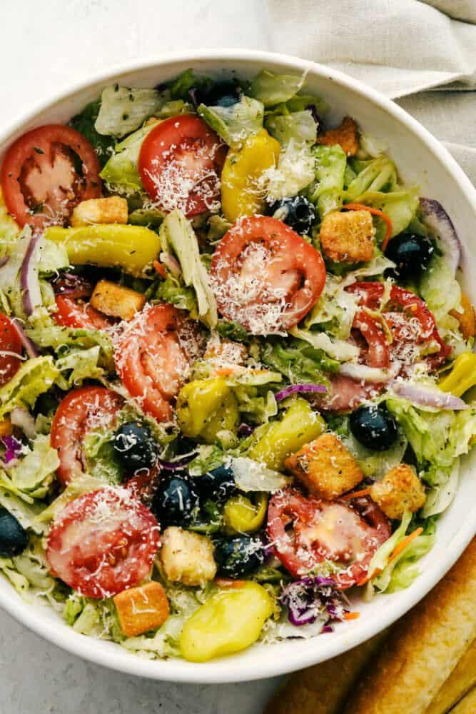 A big bowl of copycat Olive Garden salad.