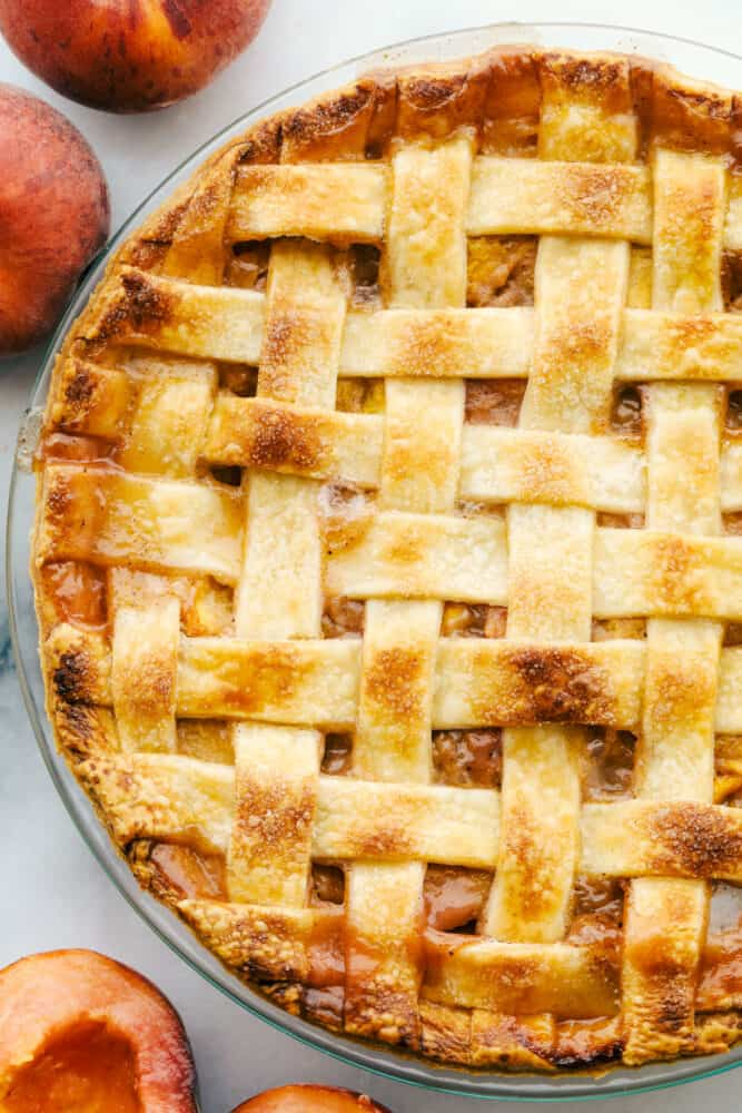 Baked peach pie.
