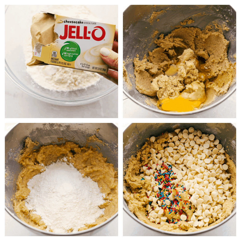 Mixing the dry ingredients, wet ingredients and chips for cookie making.