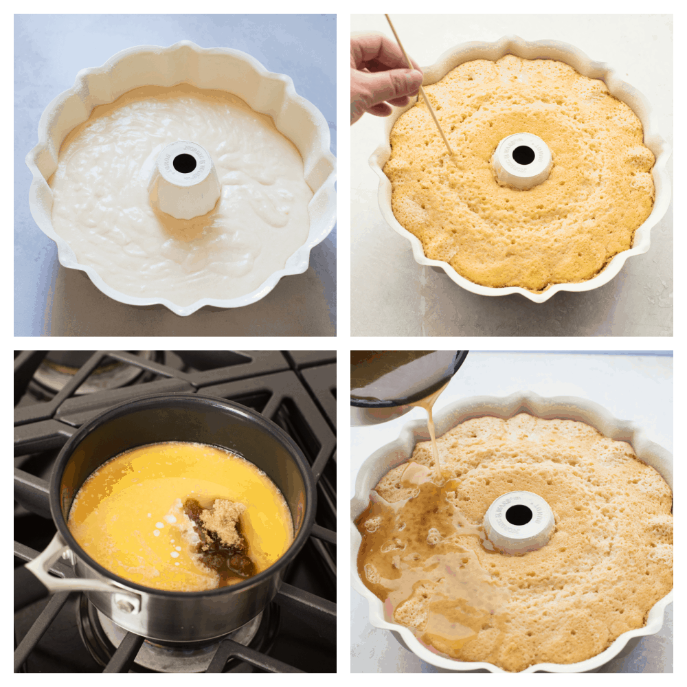 The cake batter in a Bundt pan, poking holes, making the sauce and pouring it over the cake.