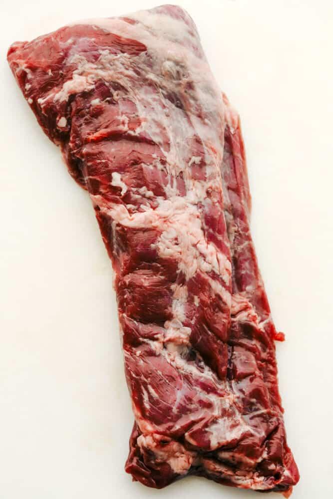 A raw skirt steak.