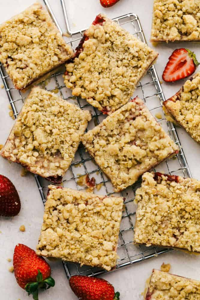 Strawberry streusel bars cut into squares for easy grabbing.