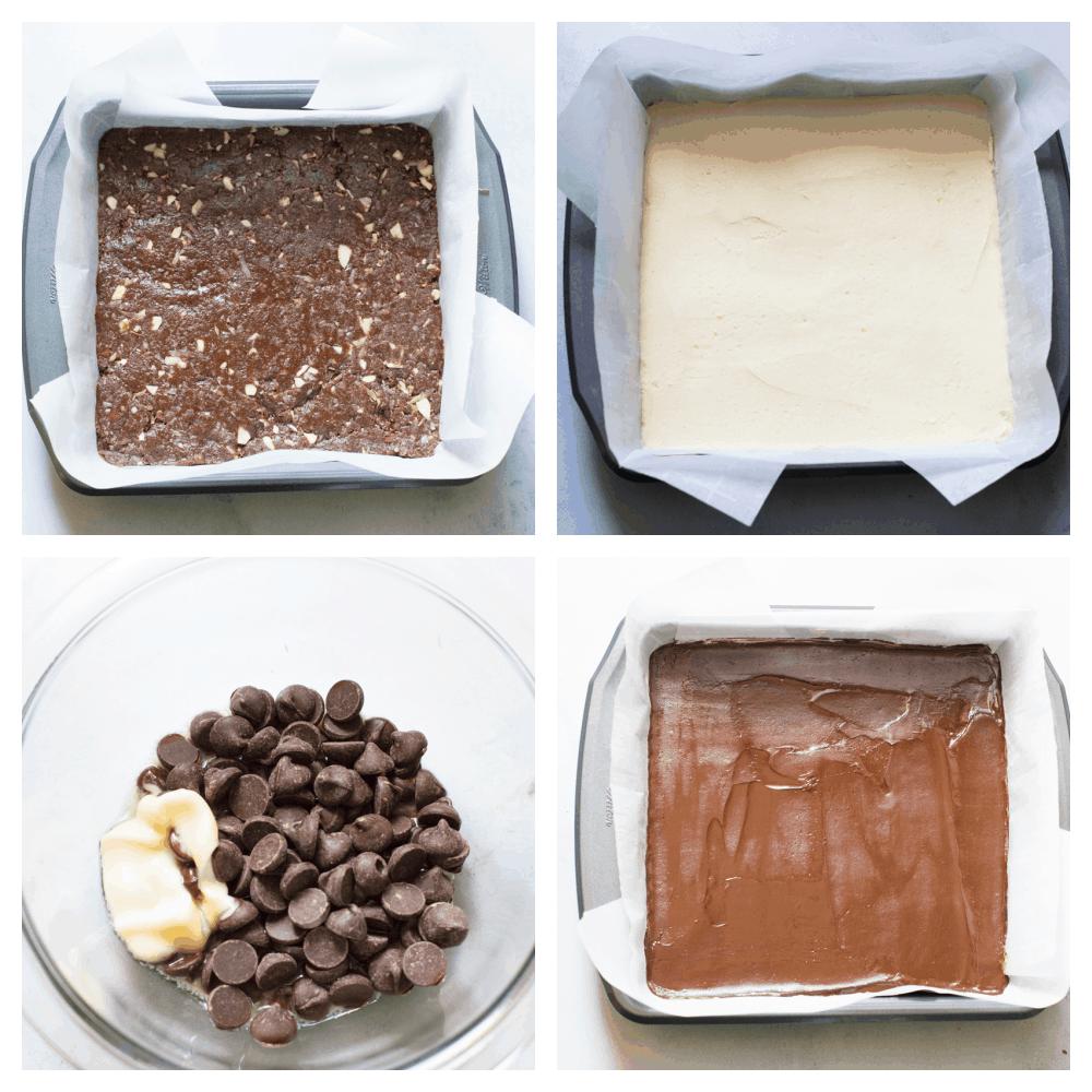The process of making nanaimo bars.