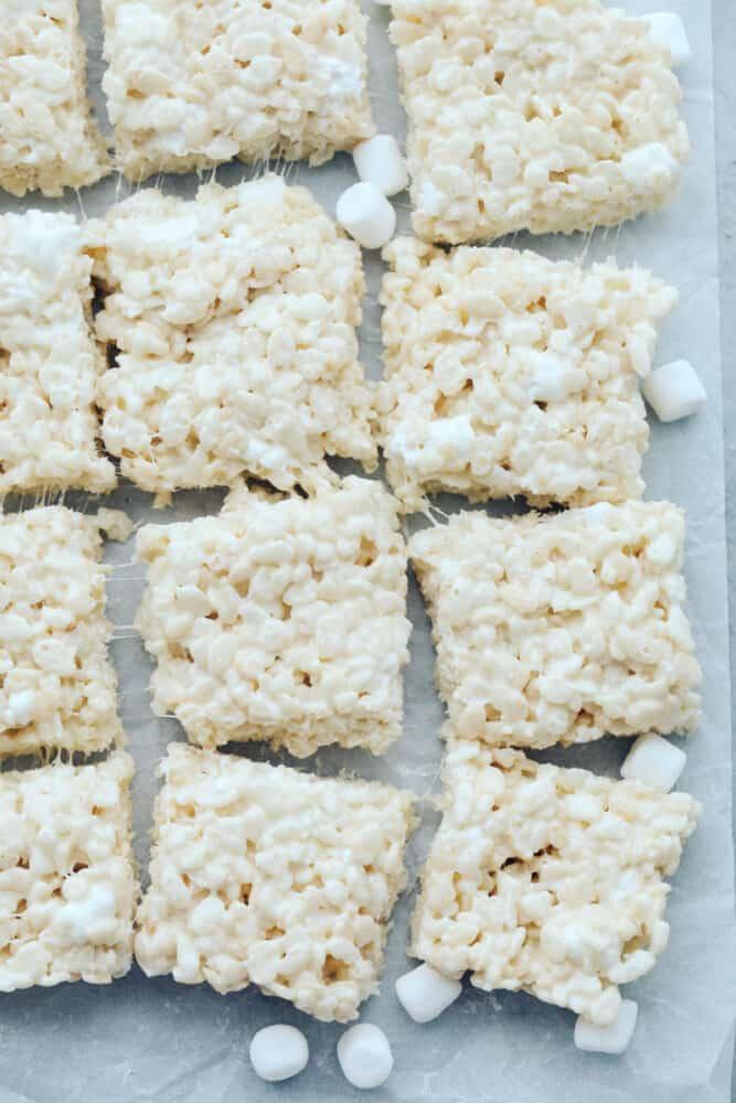 Cut rice krispies on baking sheet
