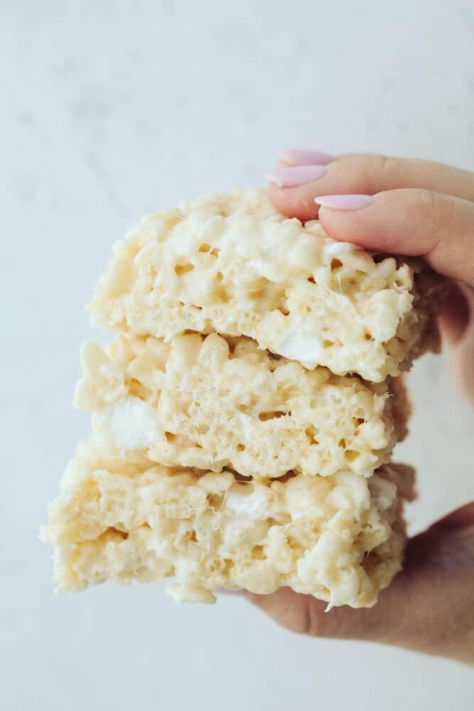 3 rice krispies in hand