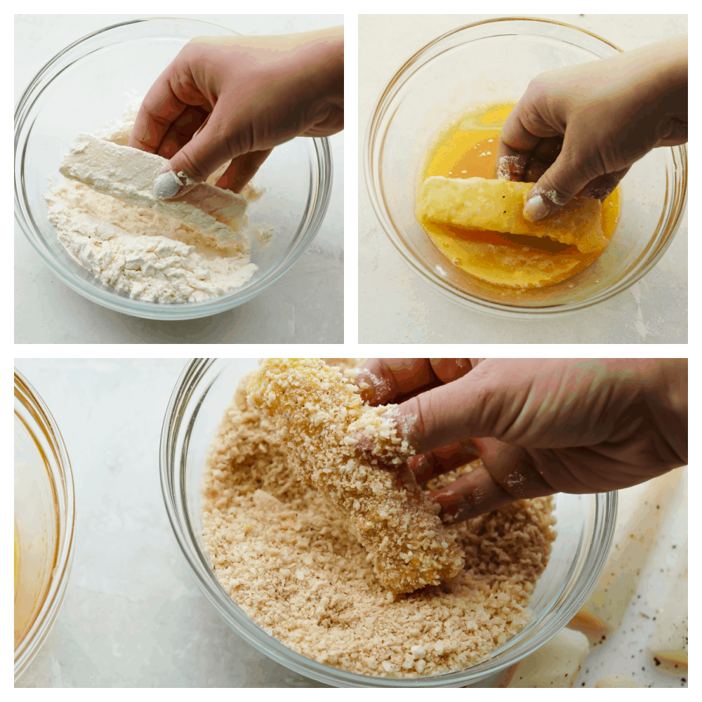 Dipping the cod in the flour mixture, then the egg and panko mixtures.