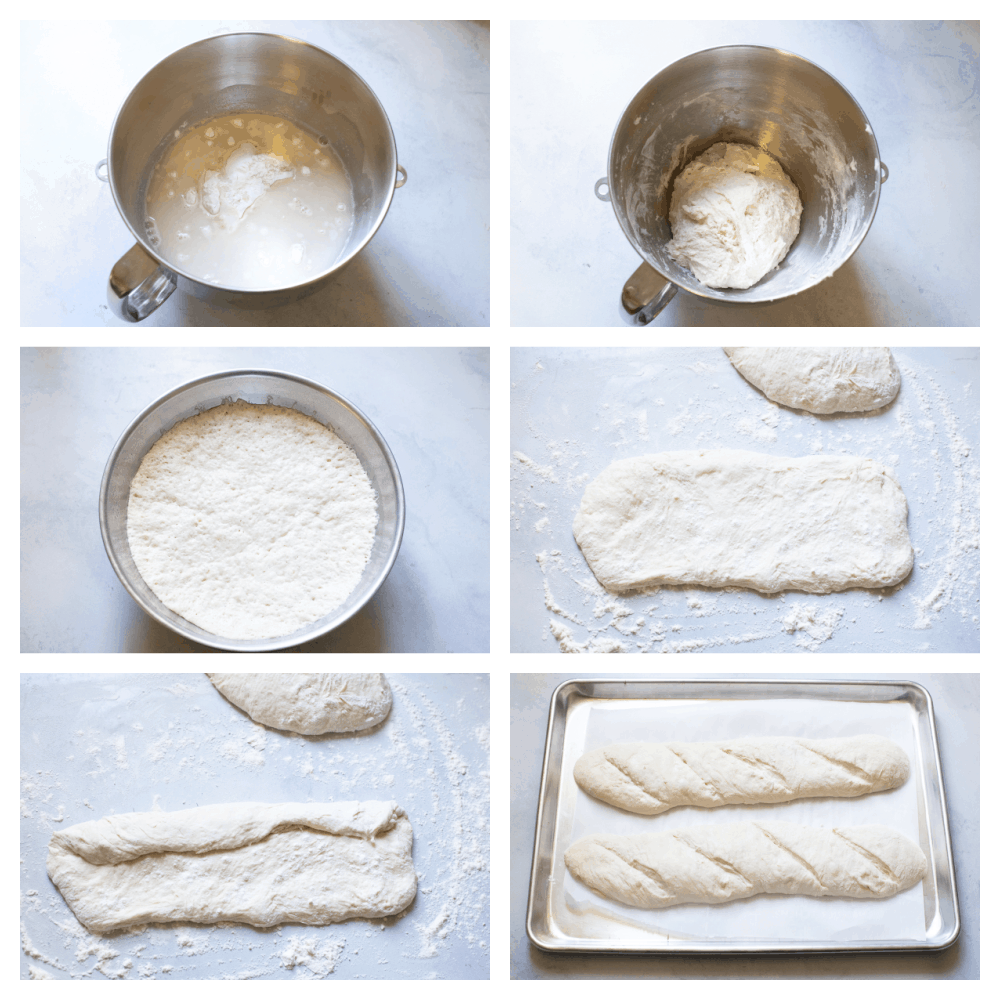 Making the french bread dough and shaping it for baking.