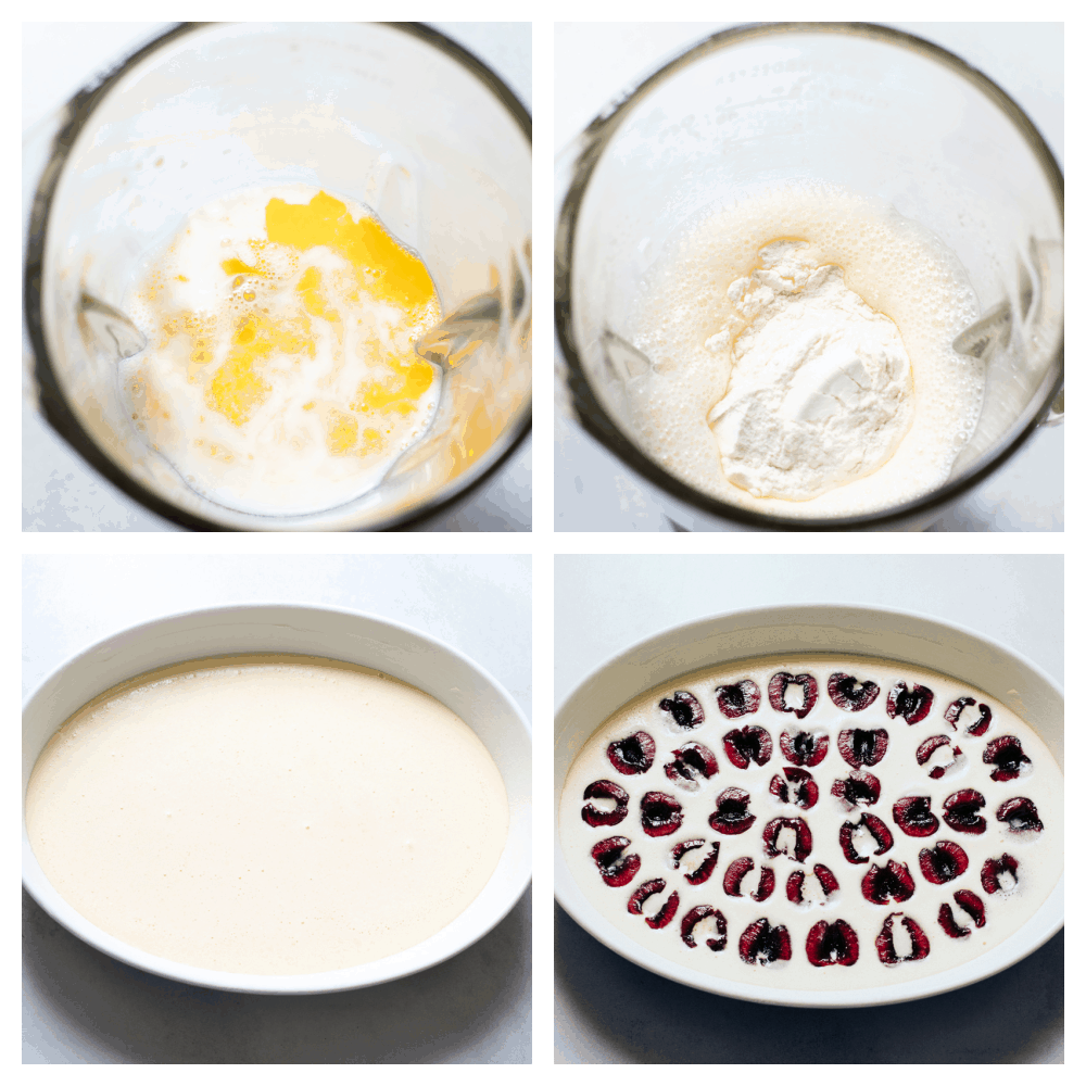 Mixing the ingredients, pouring them into a pan and adding the cherries.