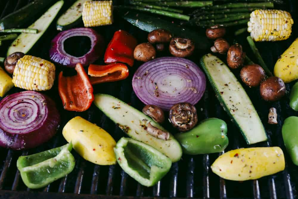 Marinated vegetables on grill.